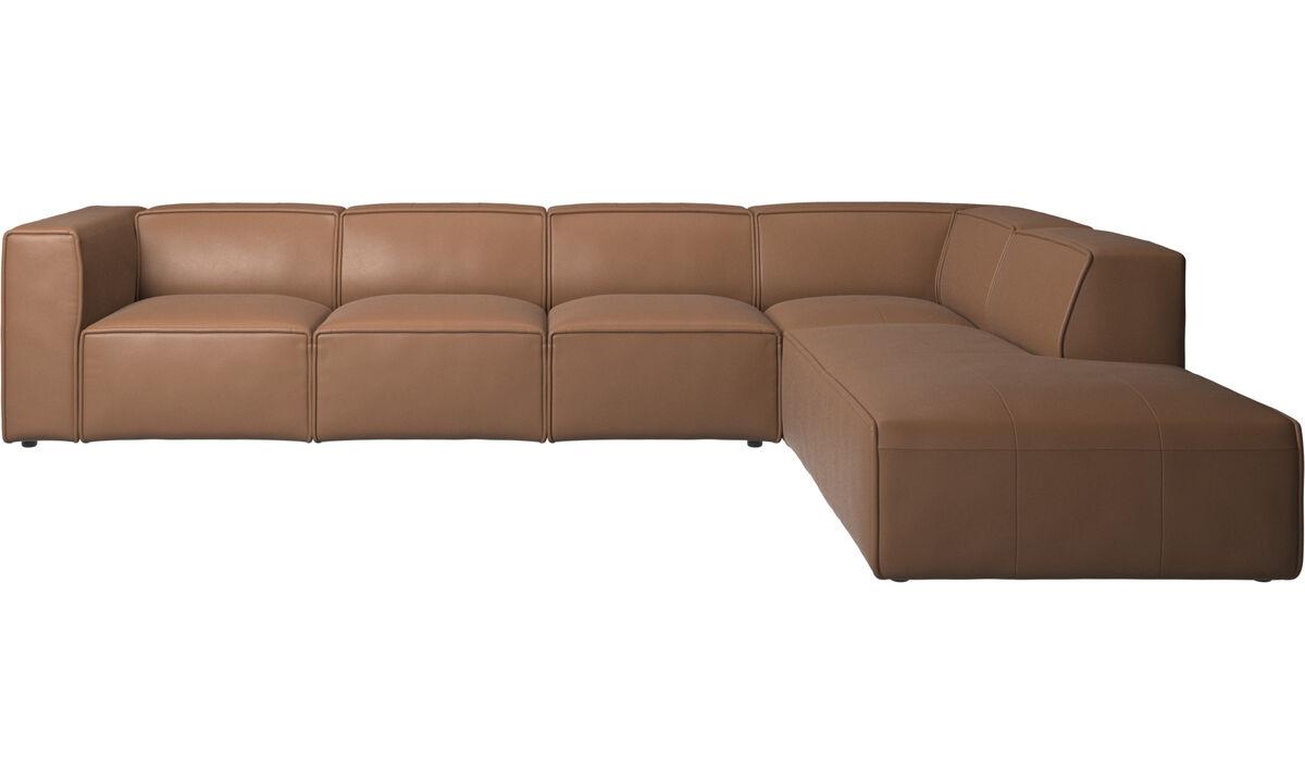 Sofás modulares - Sofá esquinero Carmo con módulo de descanso - En marrón - Piel