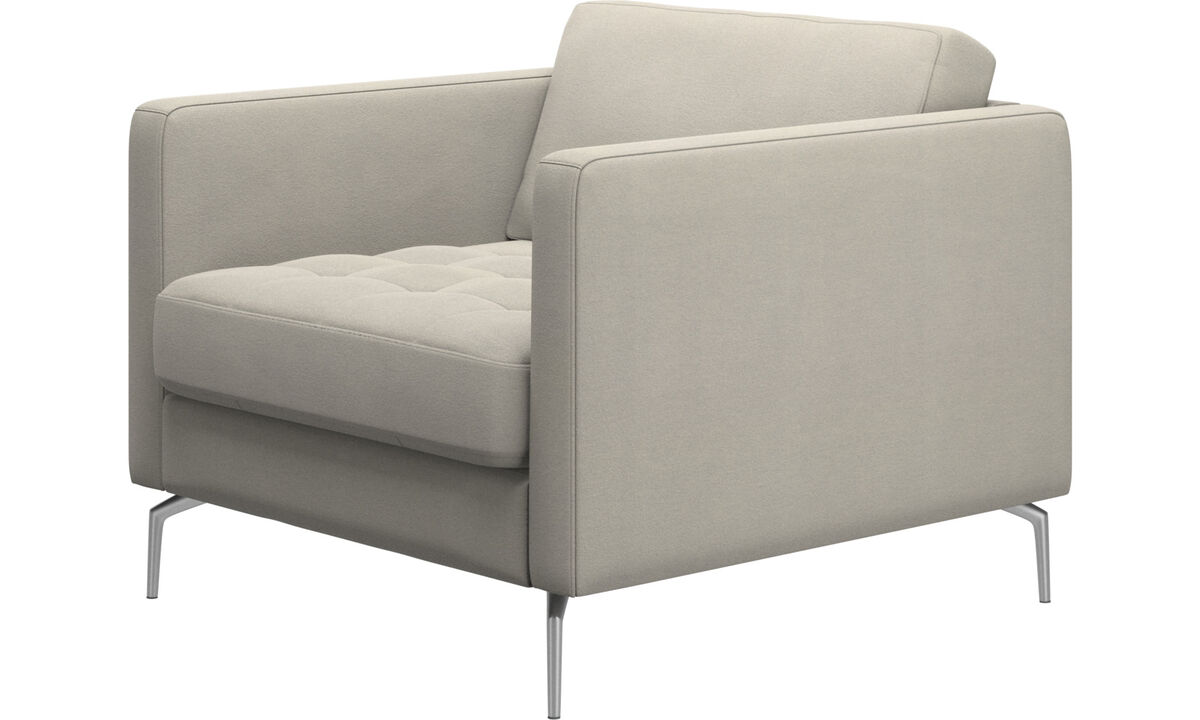 Armchairs - Osaka chair, tufted seat - White - Fabric