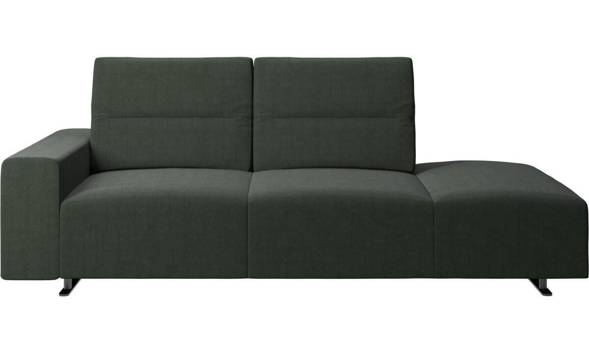 Sofás con lado abierto - Sofá Hampton con respaldo ajustable y módulo de descanso en lado derecho, brazo izquierdo - En verde - Tela