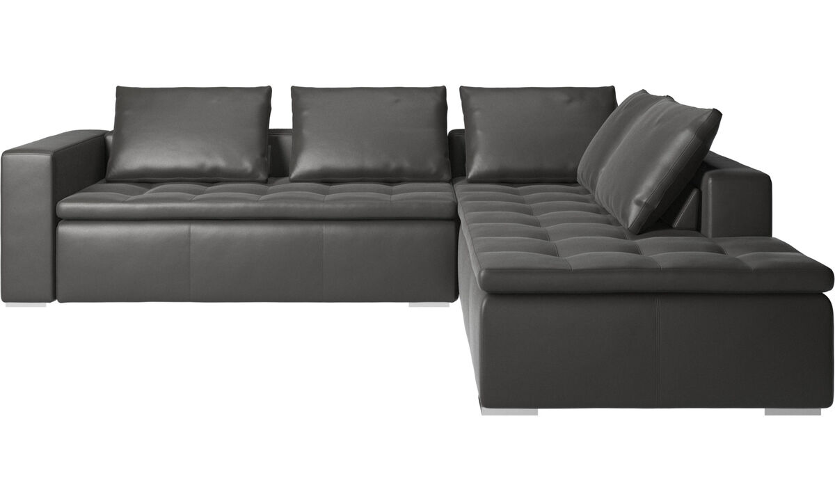 Corner sofas - Mezzo corner sofa with lounging unit - Grey - Leather