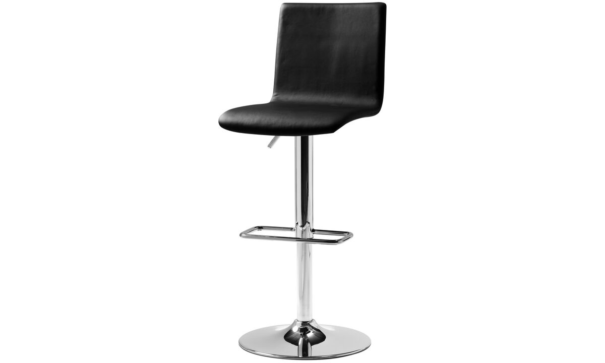 Bar stools - Siena barstool with gas cartridge - Black - Leather
