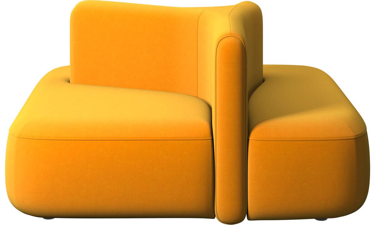 Modulárne sedačky - štvorcový modul Ottawa s nízkou opierkou - Pomarančová - Látka