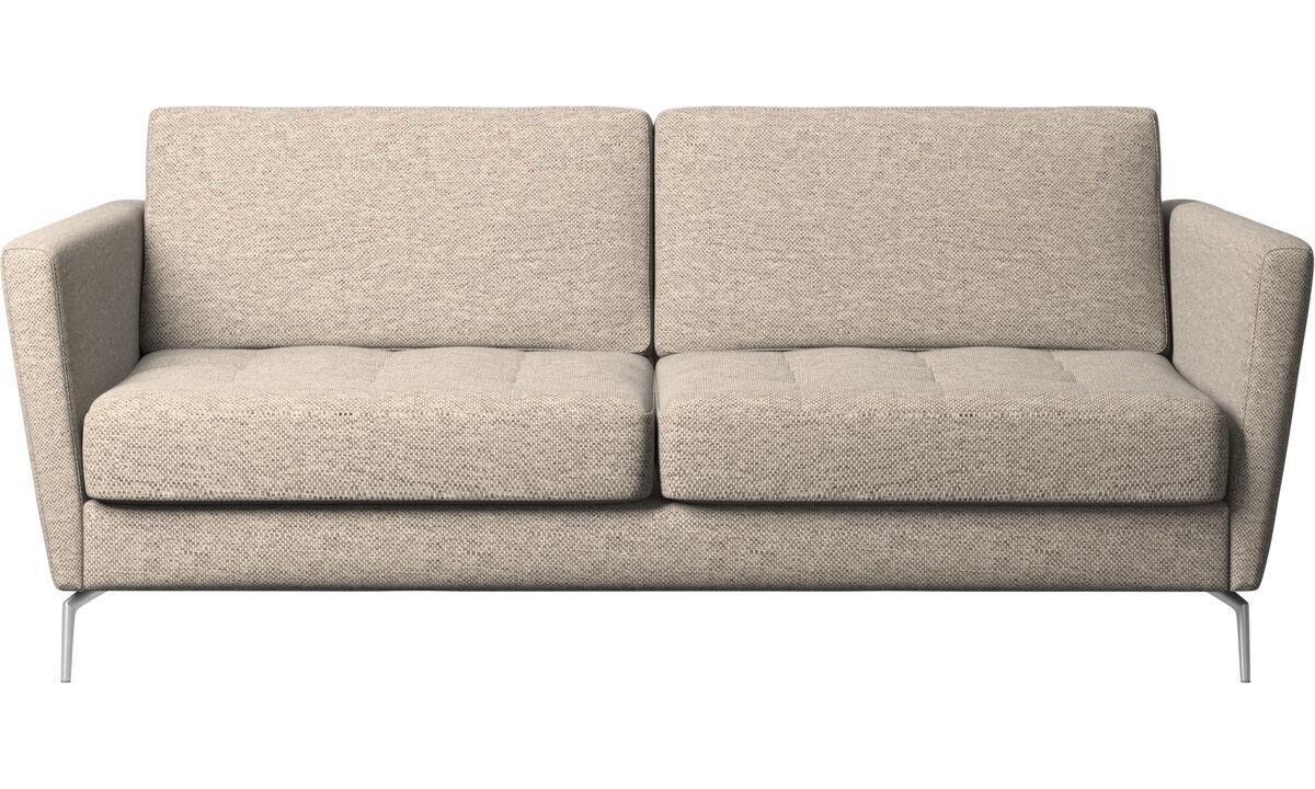 Sofy rozkładane - Sofa Osaka z funkcją spania, pikowane siedzisko - Beżowy - Tkanina