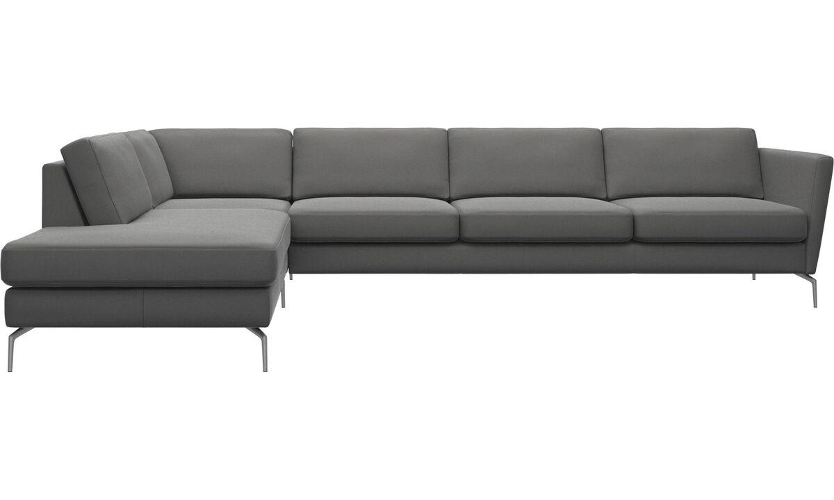 Sofas - Osaka corner sofa with lounging unit, regular seat - Gray - Leather