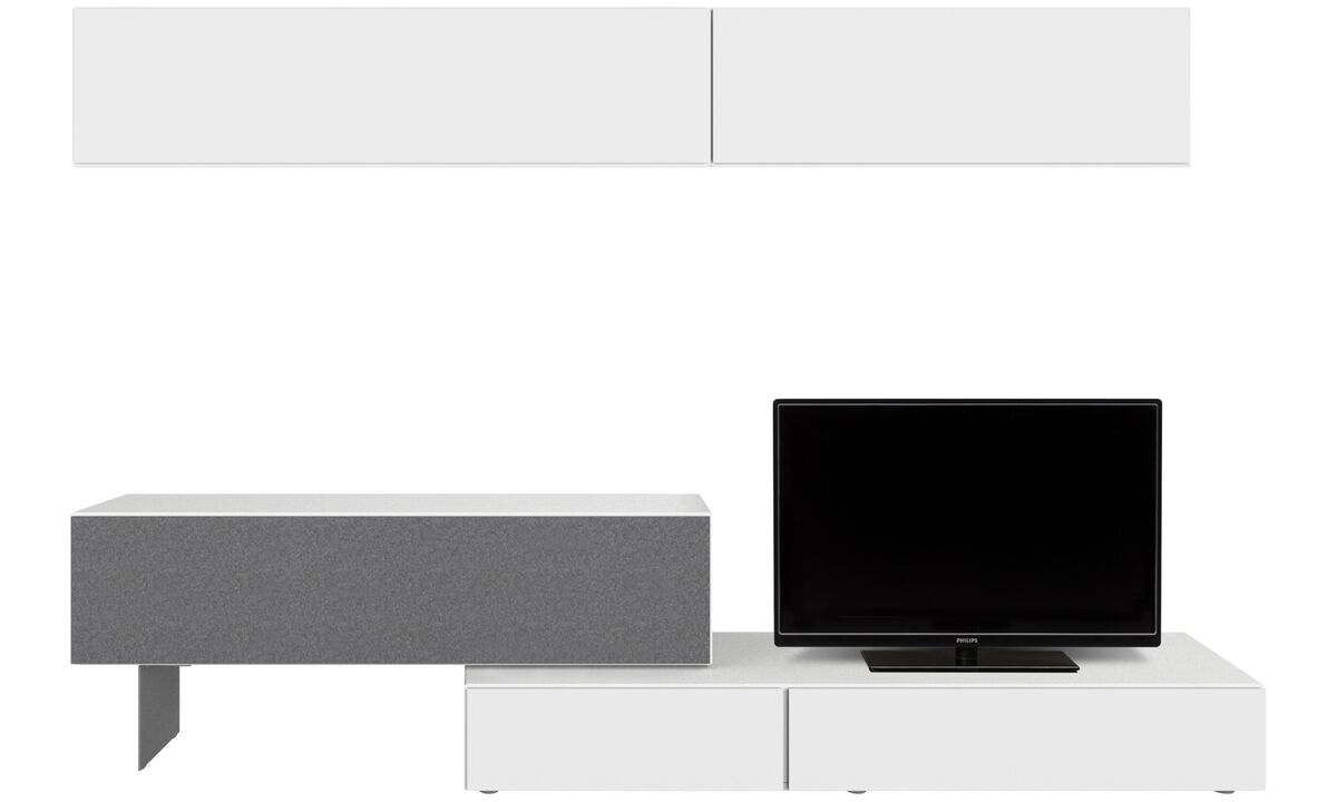 Wall systems - Lugano wall system with drawer and drop down door - White - Lacquered