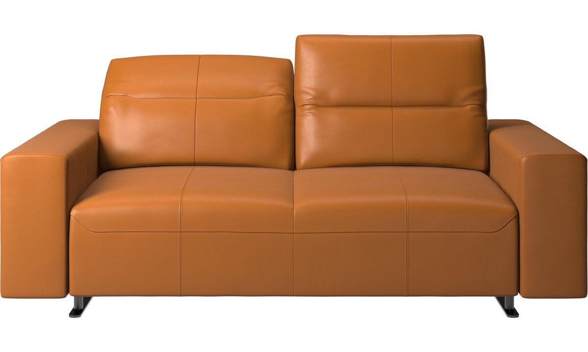 2 seater sofas - Hampton sofa with adjustable back - Brown - Leather