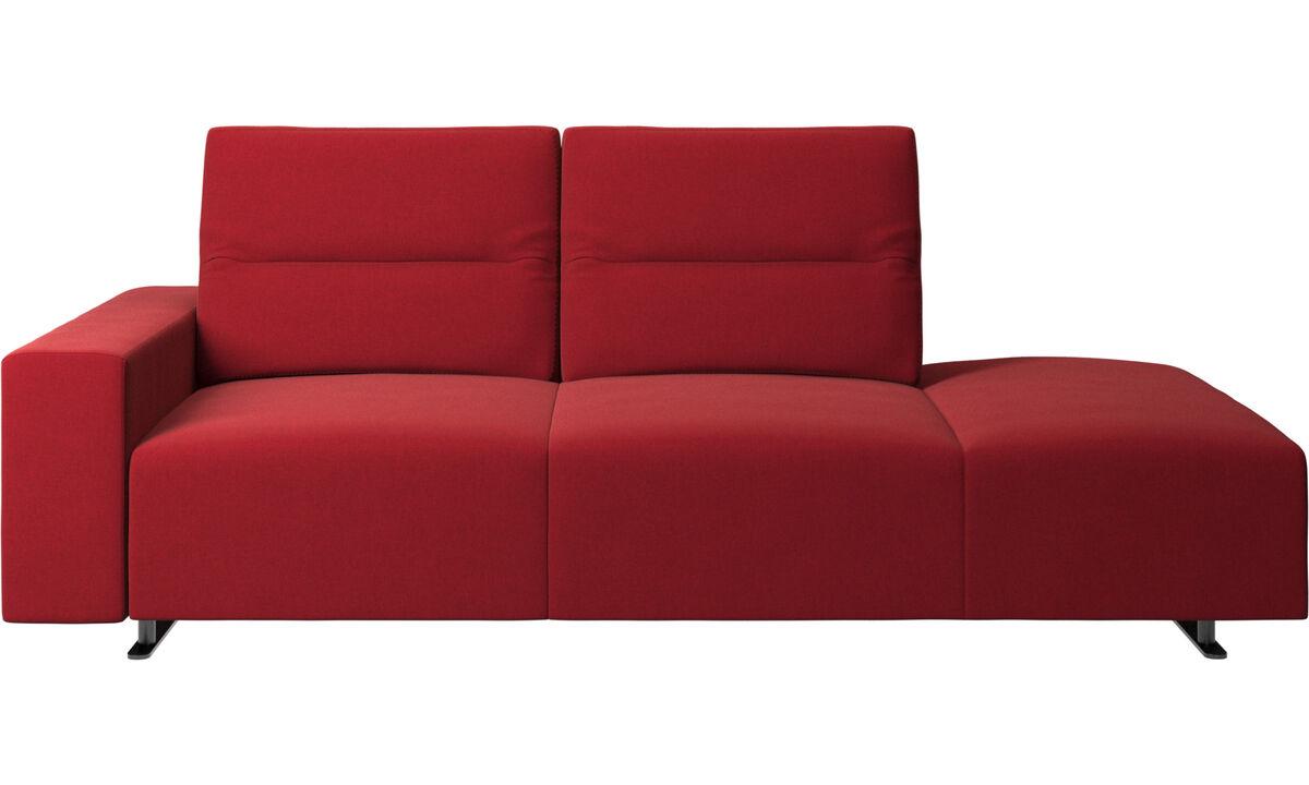 Sofás com canto aberto - Sofá Hampton com encosto ajustável e lado direito para lounging, armazenamento e apoio de braços lado esquerdo - Vermelho - Tecido