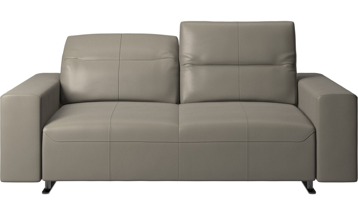 Sofás de 2 plazas - Sofá Hampton con respaldo ajustable - En gris - Piel