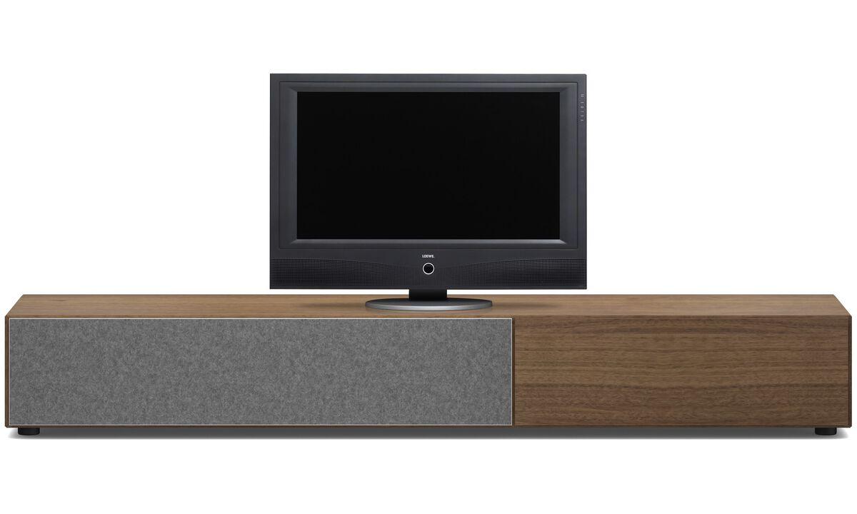 Muebles de TV - Armario bajo Lugano con cajón y puerta abatibles hacia abajo - Nogal