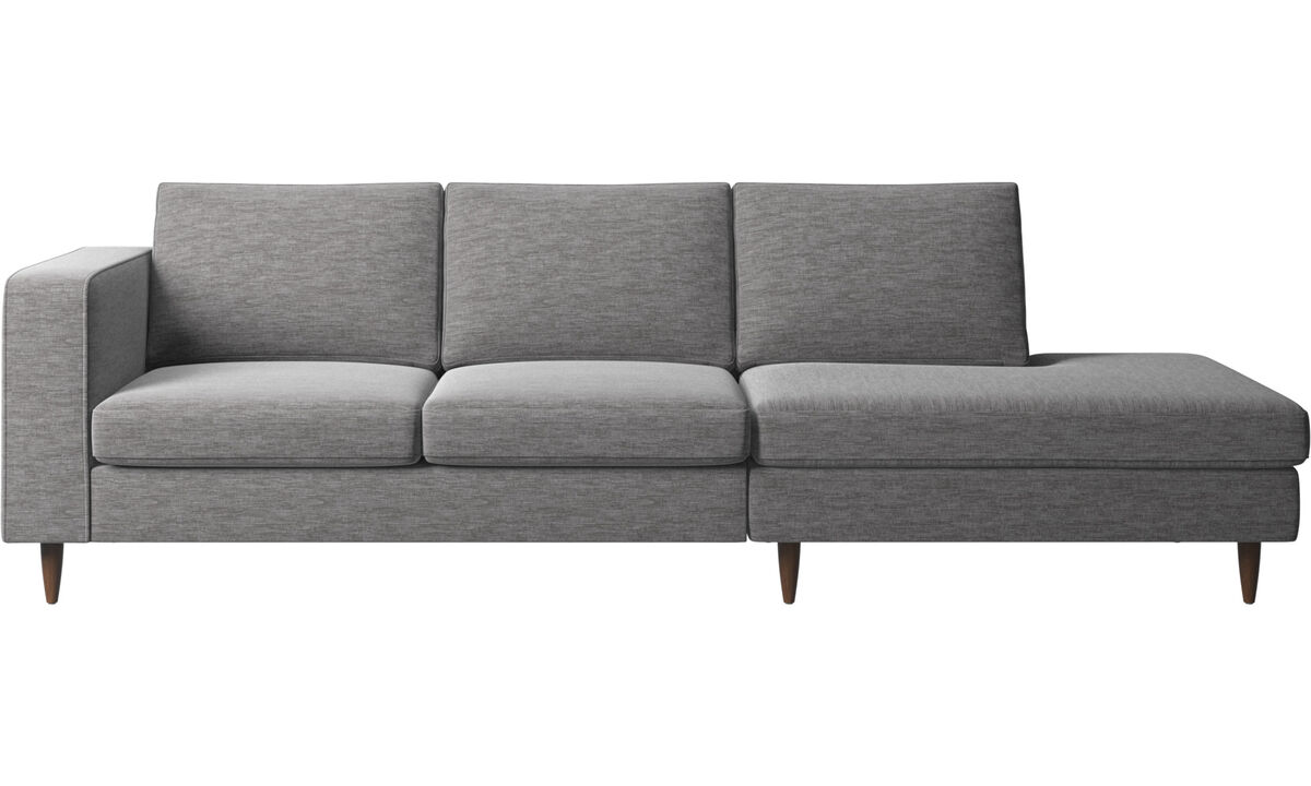 Sofas with open end - Indivi sofa with lounging unit - Grey - Fabric