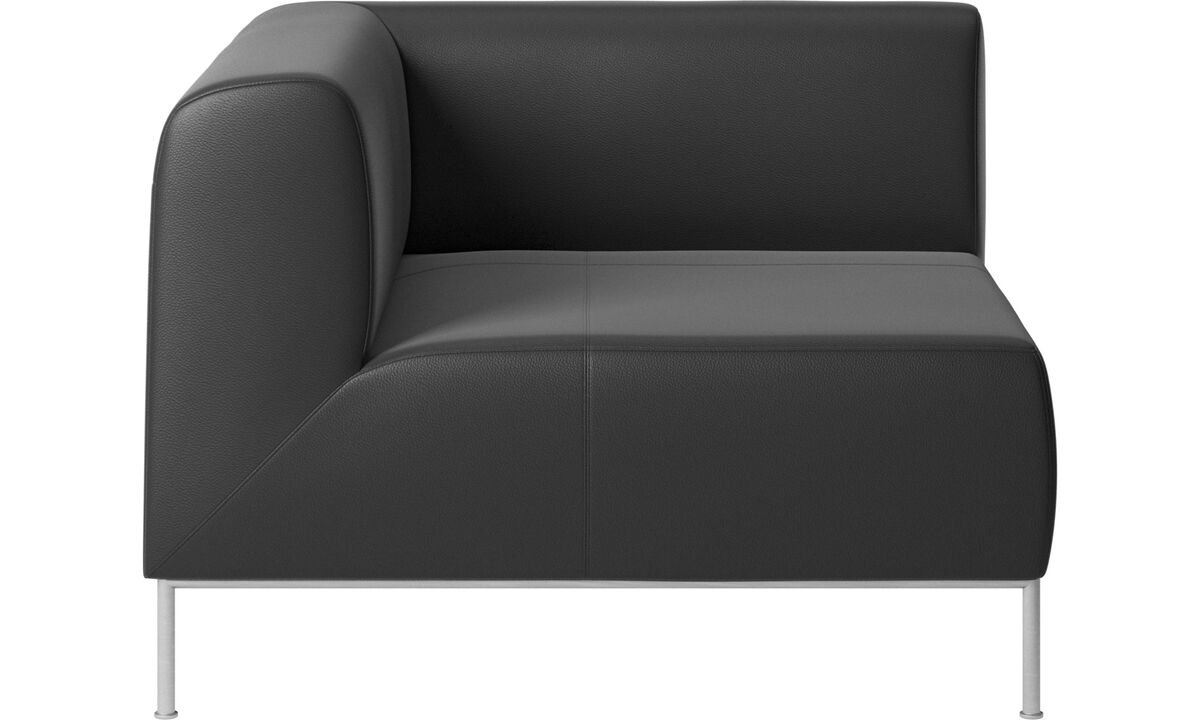 Sofás modulares - módulo esquinero Miami lado izquierdo - En negro - Piel