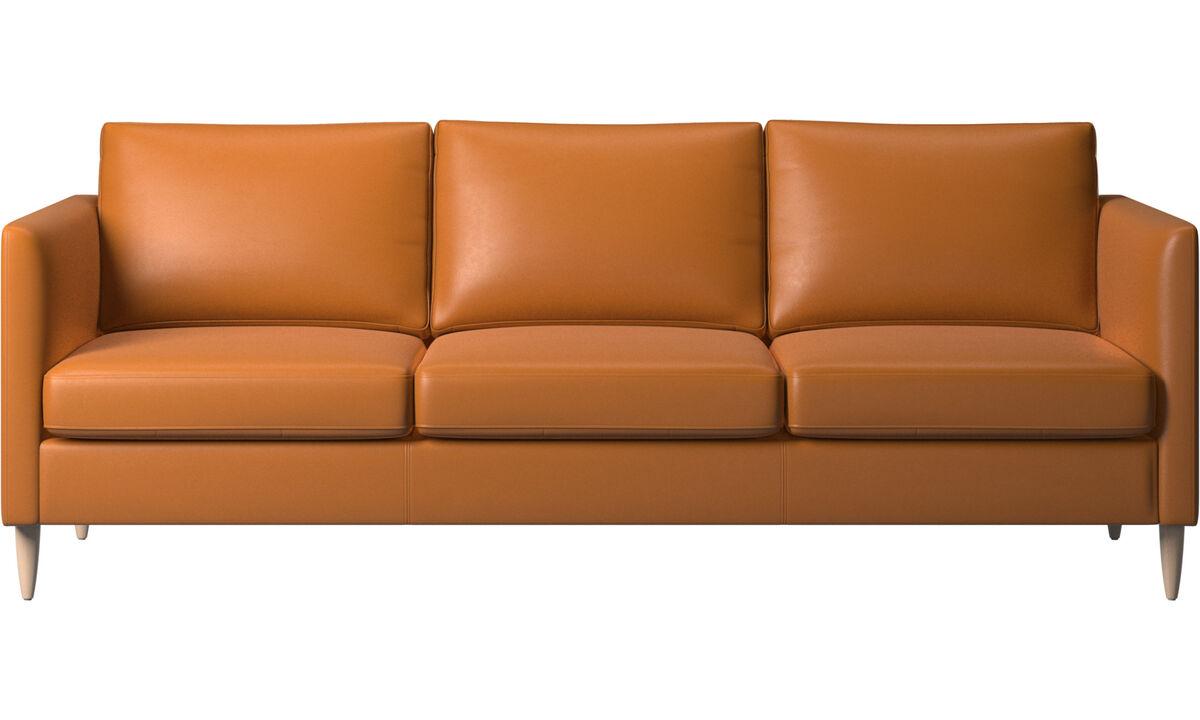3 θέσιοι καναπέδες - Καναπές Indivi - Καφέ - Δέρμα