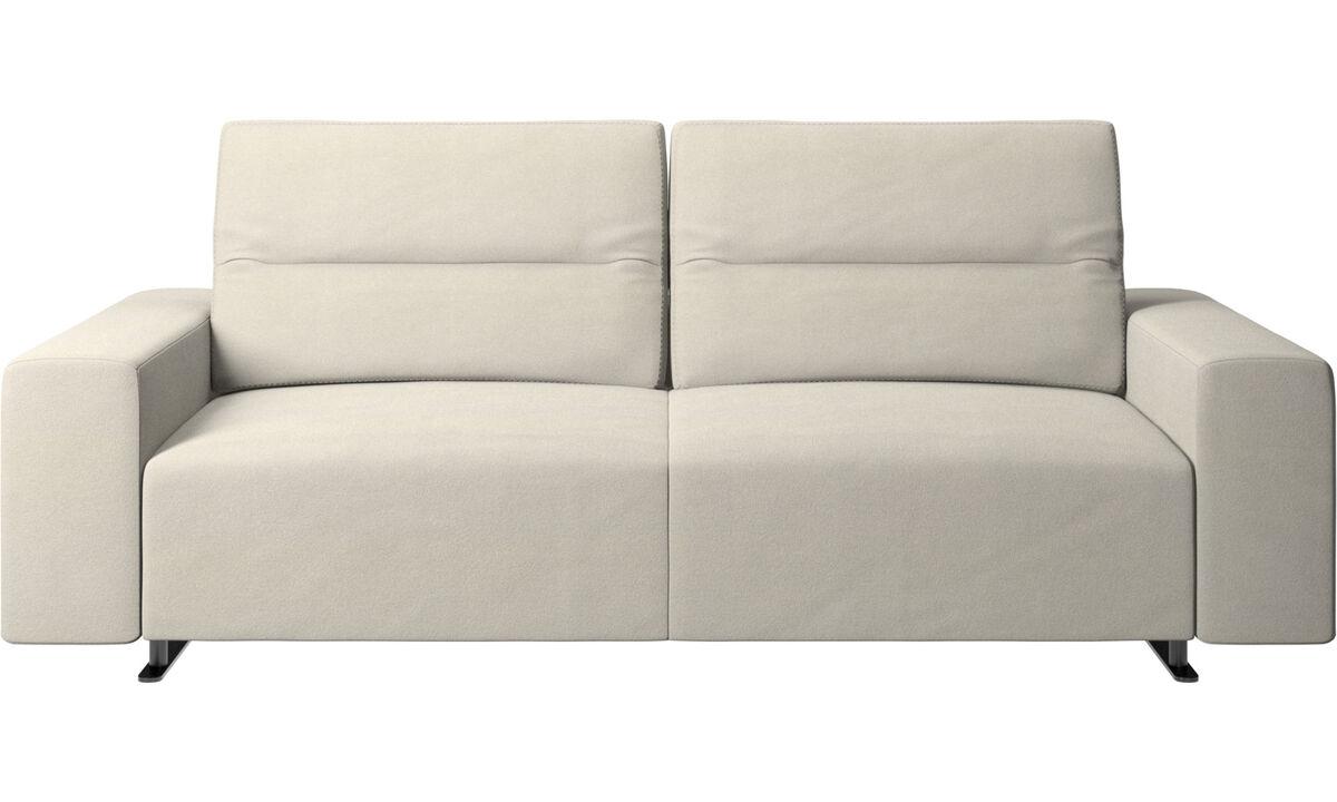 Sofás de 2 plazas y media - Sofá Hampton con respaldo ajustable - Blanco - Tela