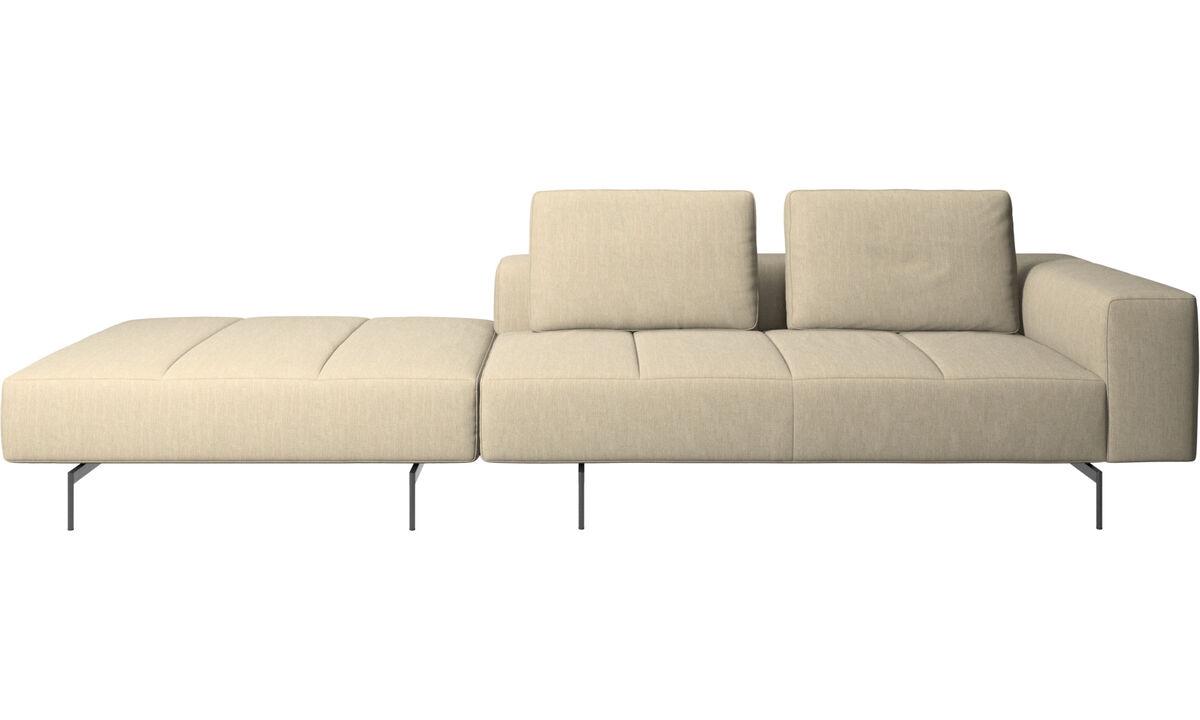 Modular sofas - Divano Amsterdam con pouf sul lato destro - Marrone - Tessuto