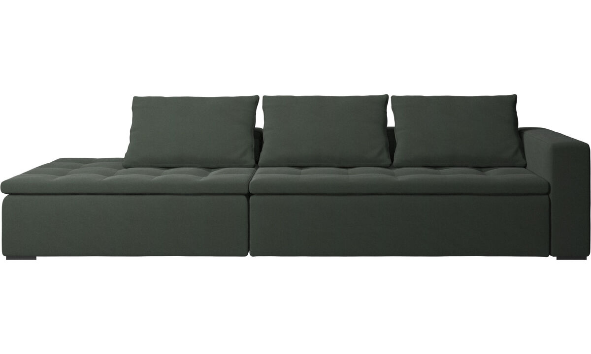 Sofás com canto aberto - Sofá Mezzo com módulo de descanso - Verde - Tecido