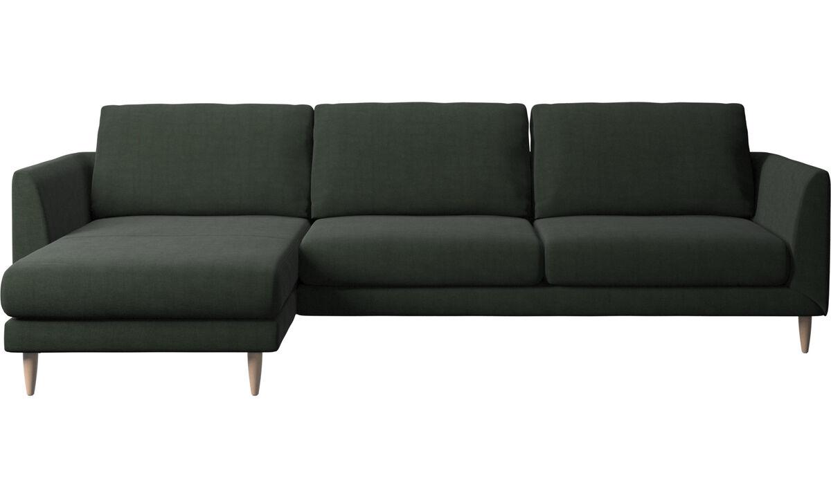 Sofás con chaise longue - Sofá Fargo con módulo chaise-longue - En verde - Tela