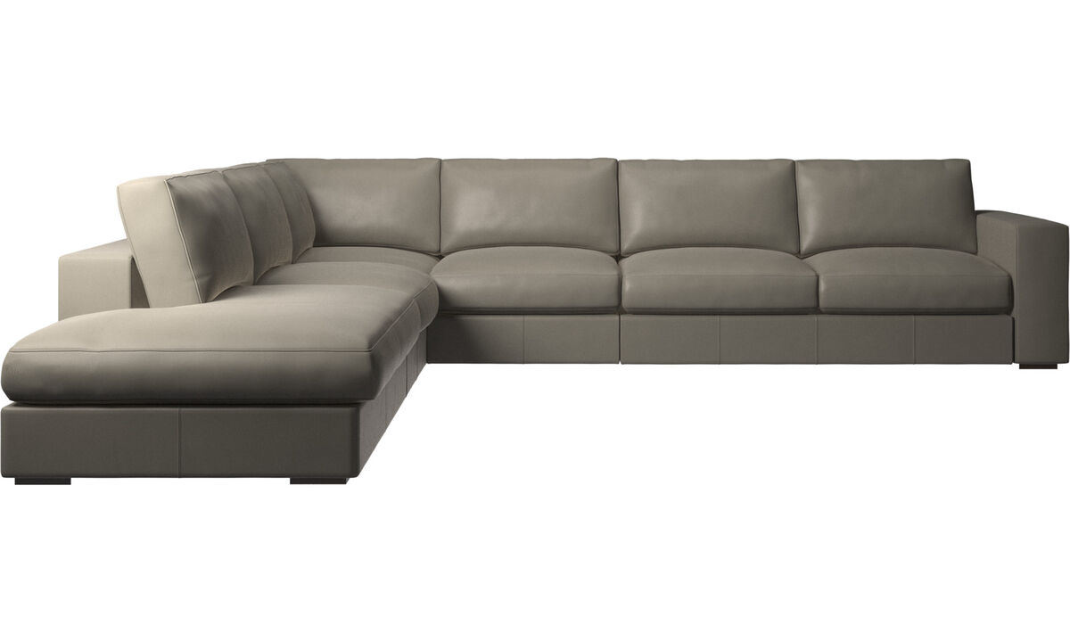 Sofas with open end - Cenova corner sofa with lounging unit - Grey - Leather