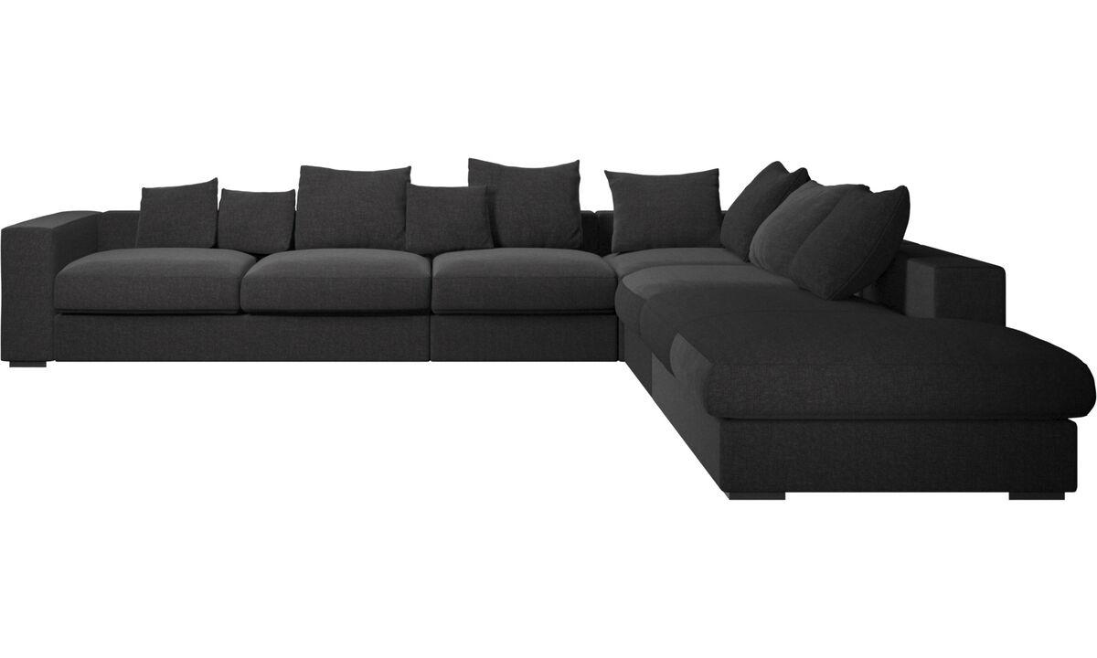 Corner sofas - Cenova corner sofa with lounging unit - Black - Fabric