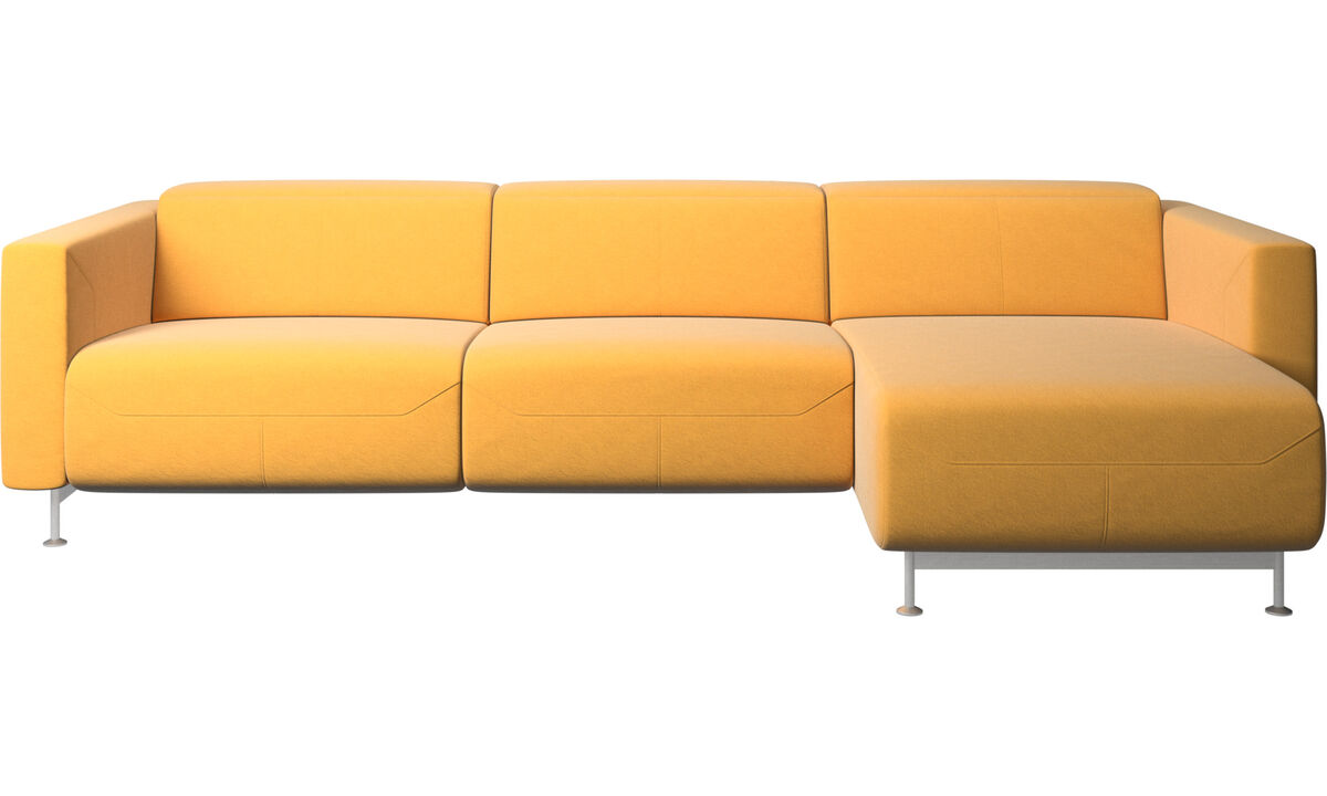 Chaise lounge sofas - Parma reclining sofa with chaise lounge - Yellow - Fabric