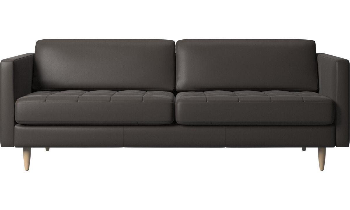 Sofás de 2 plazas y media - sofá Osaka, asiento capitoné - En marrón - Piel