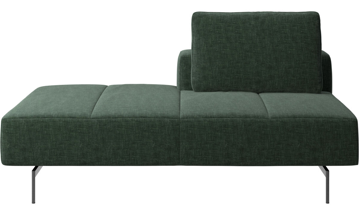 Modular sofas - Amsterdam Iounging module for sofa, back rest right, open end left - Green - Fabric