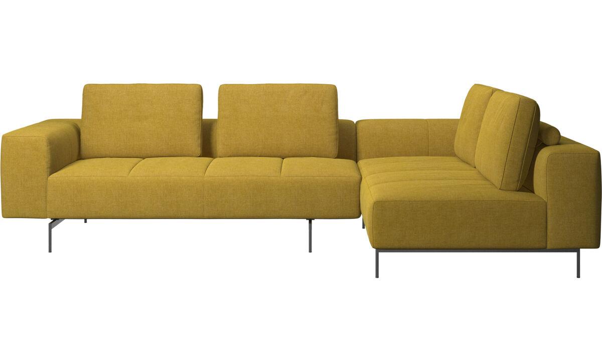 Corner & L-Shaped Sofa - Amsterdam corner sofa with lounging unit - Yellow - Fabric