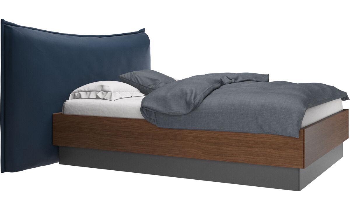 Camas - Cama con canapé, estructura elevable y tablado, no incluye colchón Gent - En azul - Piel