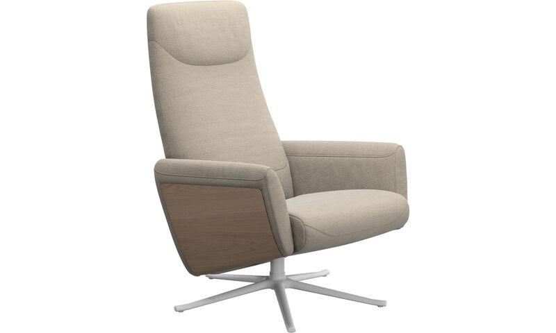 af155953fc9c ... Fauteuils - fauteuil inclinable Lucca avec fonction pivotante - Beige -  Tissu ...