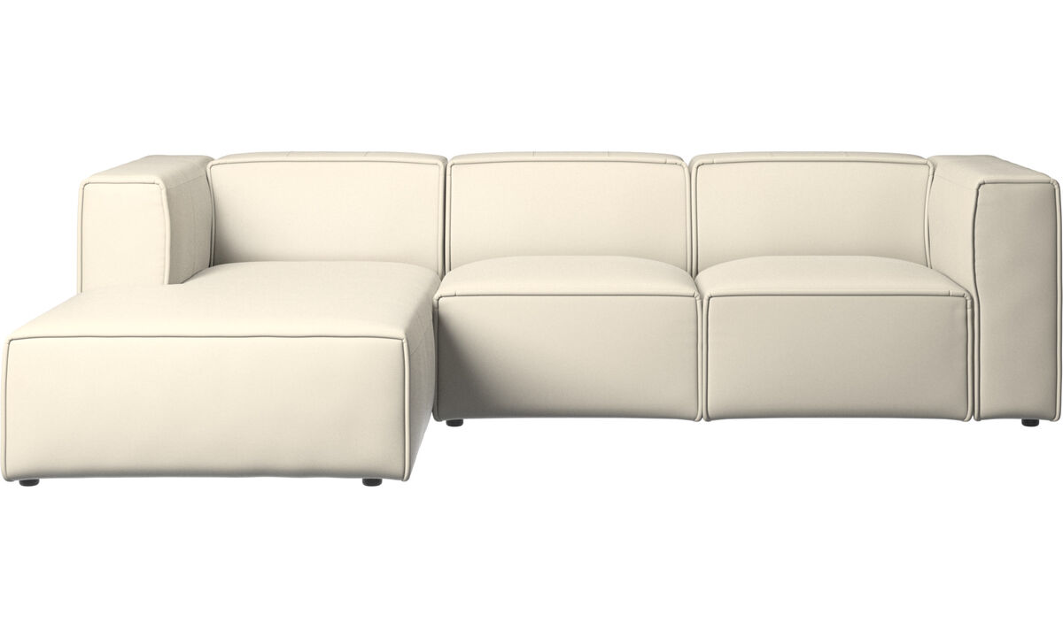 Chaise lounge sofas - Carmo motion sofa with resting unit - White - Leather