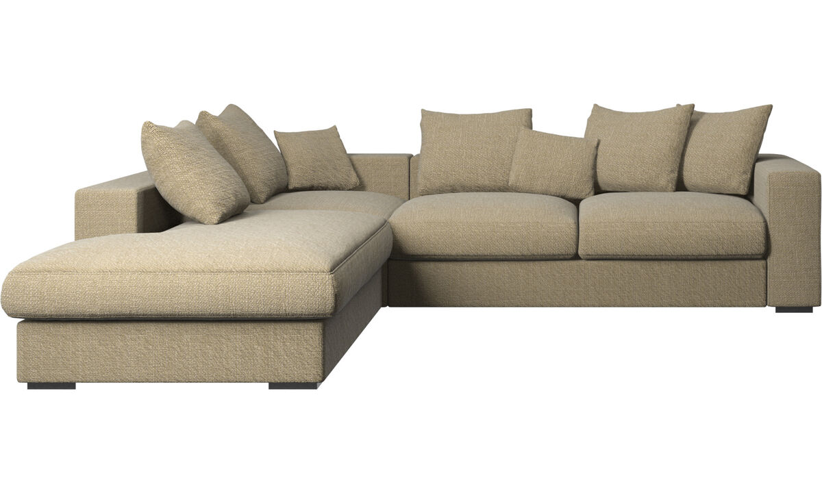 Sofas with open end - Cenova sofa with lounging unit - Yellow - Fabric