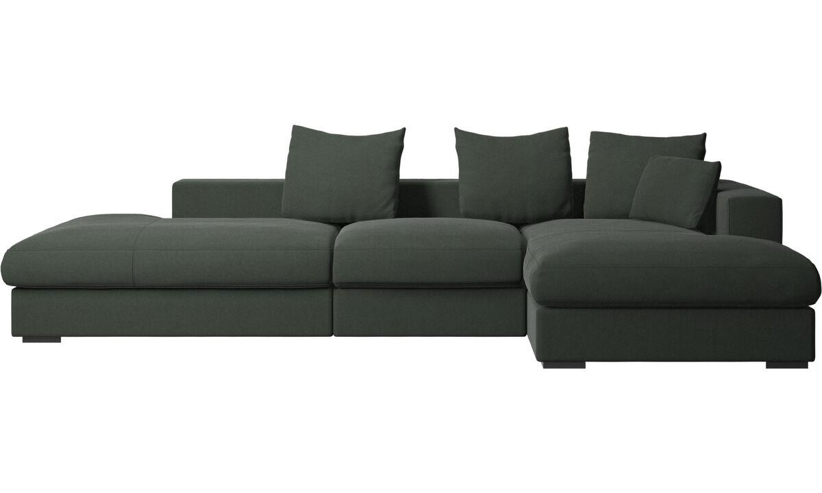 Sofás com canto aberto - Sofá Cenova chaise-longue - Verde - Tecido