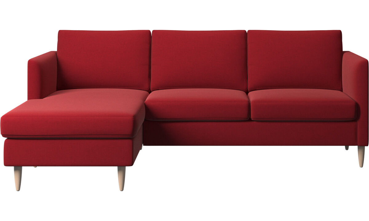Sofás com chaise - sofá Indivi com módulo chaise-longue - Vermelho - Tecido