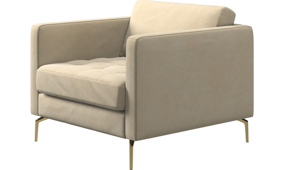 Armchairs - Osaka chair, tufted seat - Beige - Fabric