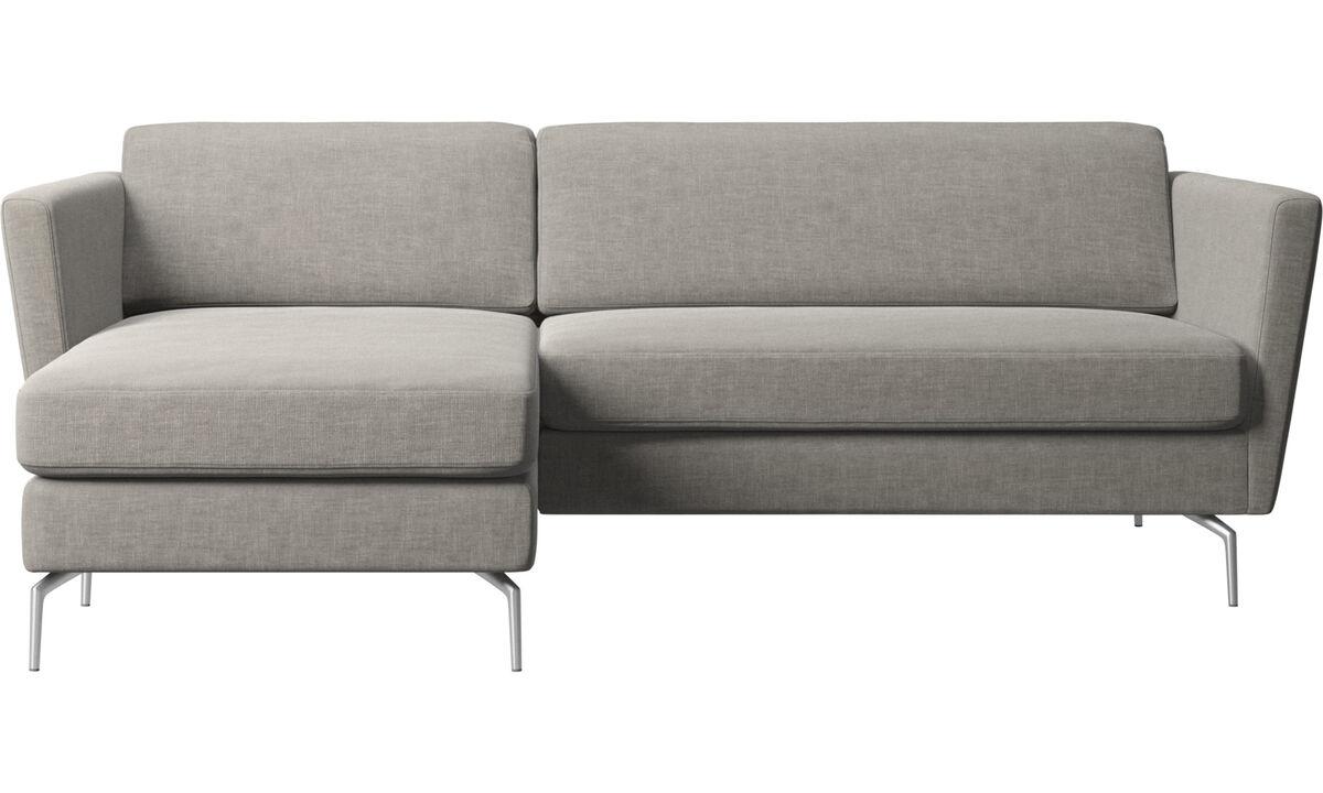 Canapés avec chaise longue - canapé Osaka avec chaise longue, assise classique - Gris - Tissu