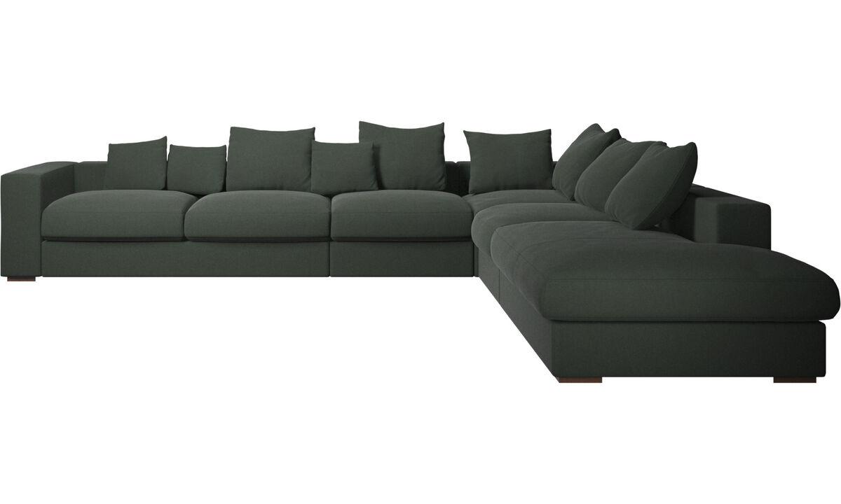 Sofás esquineros - sofá esquinero Cenova con módulo de descanso - En verde - Tela