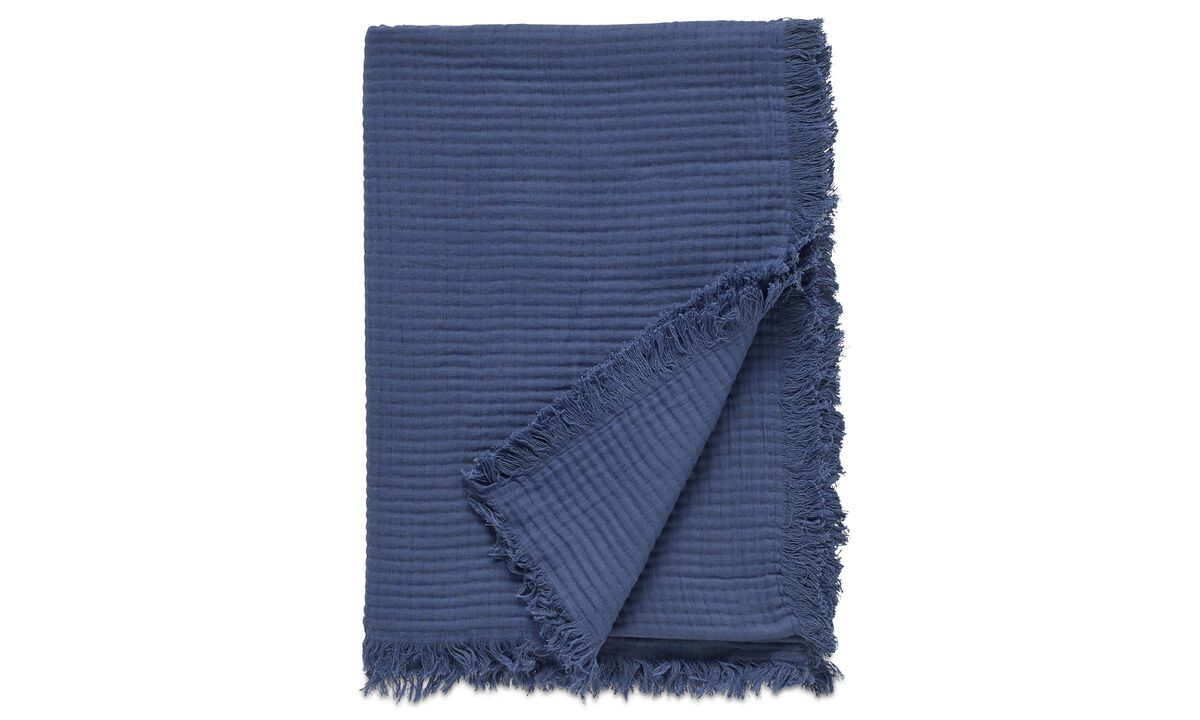 Throws & bedspreads - Waffle throw - Blue - Fabric