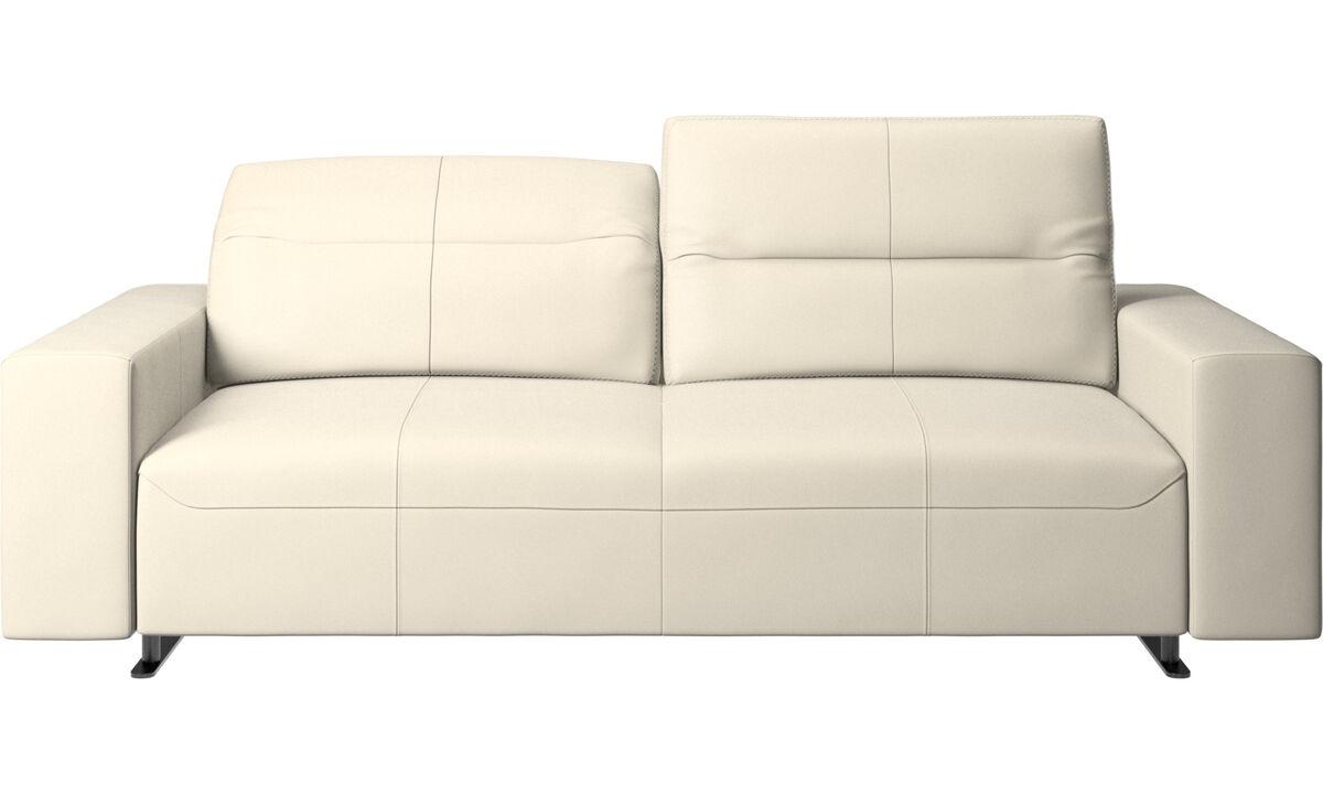 2.5 seater sofas - Hampton sofa with adjustable back - White - Leather