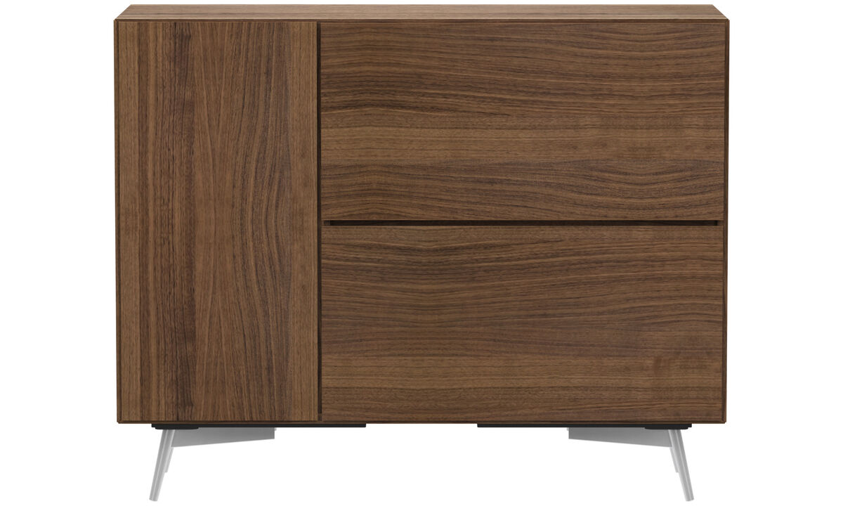 Sideboards - Lugano highboard with drop down door and drawer - Brown - Walnut