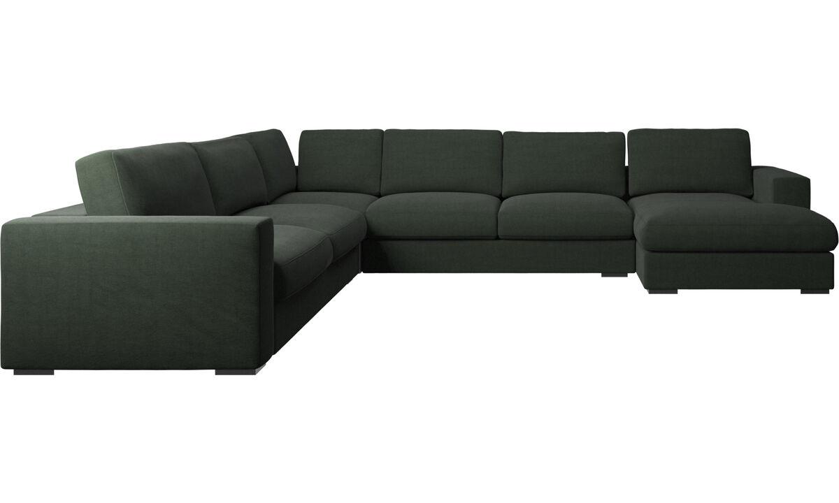 Sofás esquineros - Sofá esquinero Cenova con módulo chaise-longue - En verde - Tela