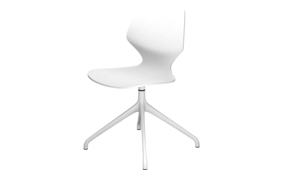 Dining chairs - Florence chair with swivel function - White - Oak