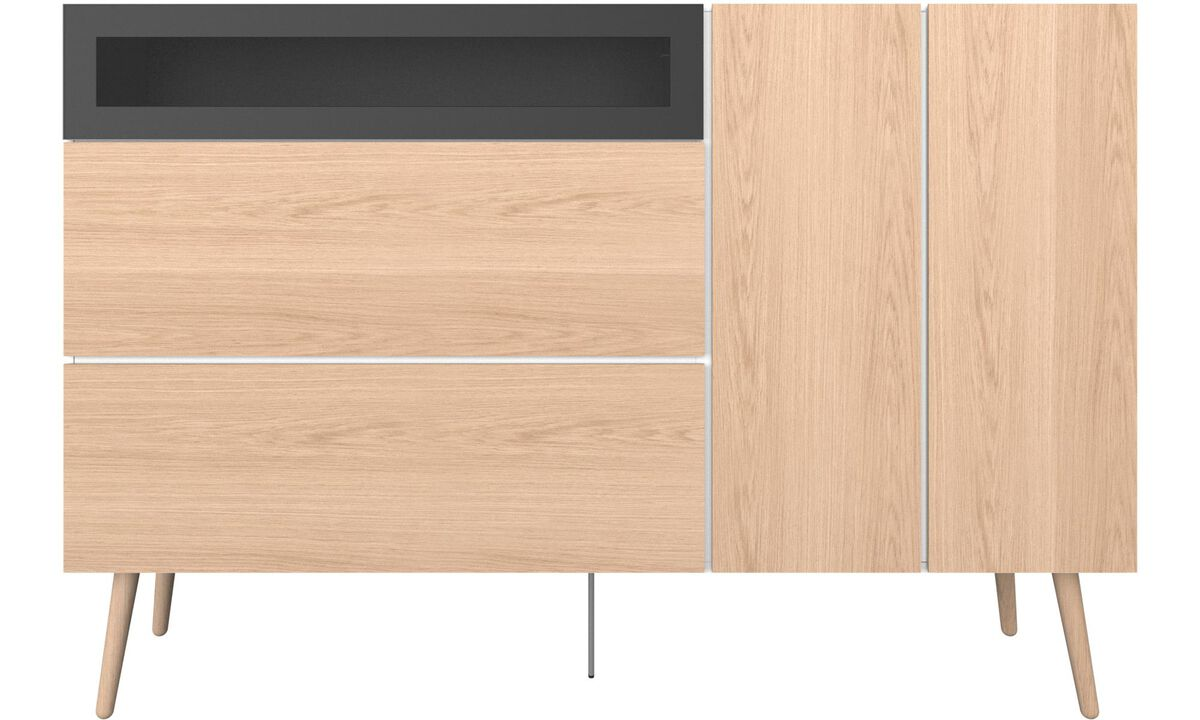 Sideboards - Lugano highboard with drawers and drop down door - White