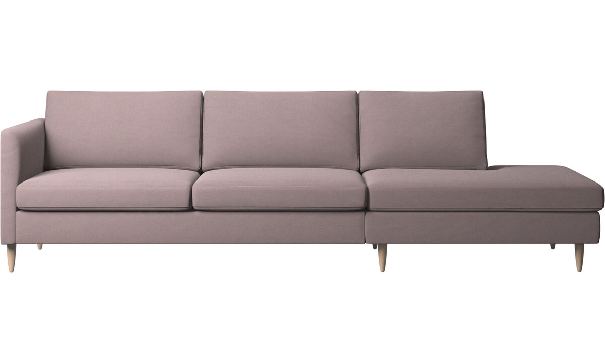 Sofas with open end - Indivi sofa with lounging unit - Purple - Fabric