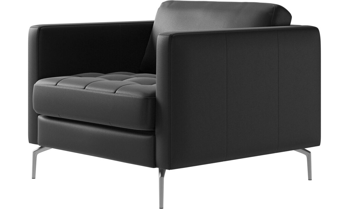 Armchairs - Osaka chair, tufted seat - Black - Leather