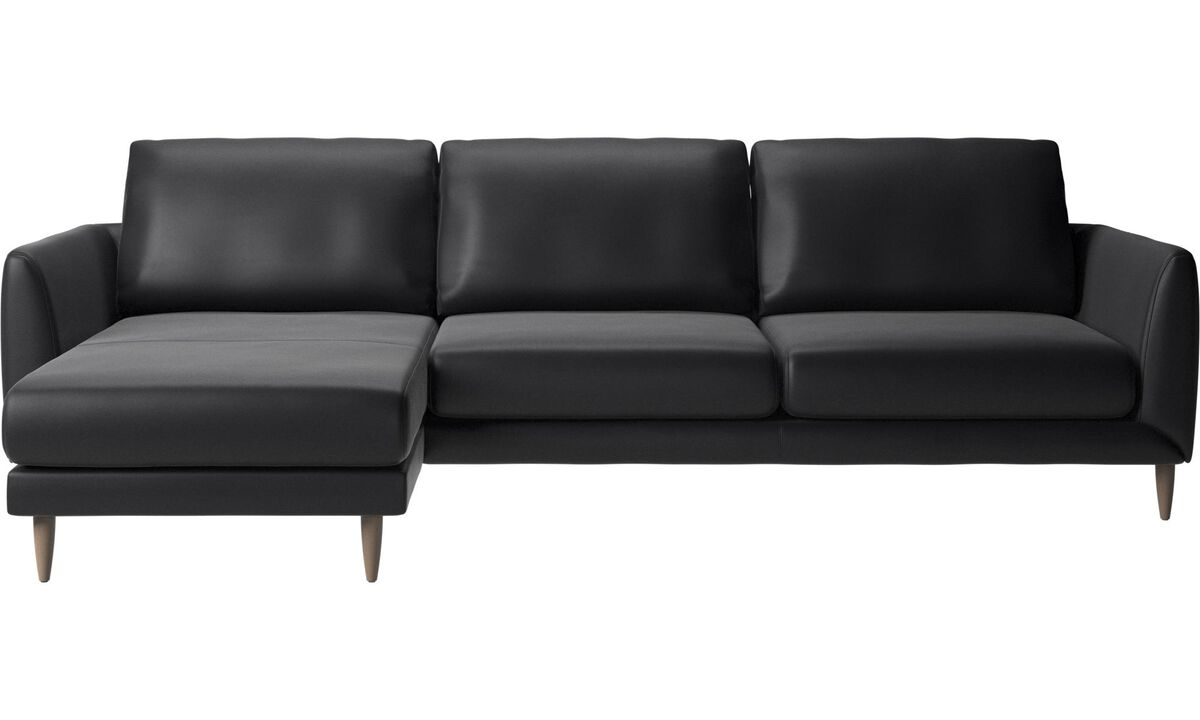 Chaise lounge sofas - Fargo sofa with resting unit - Black - Leather