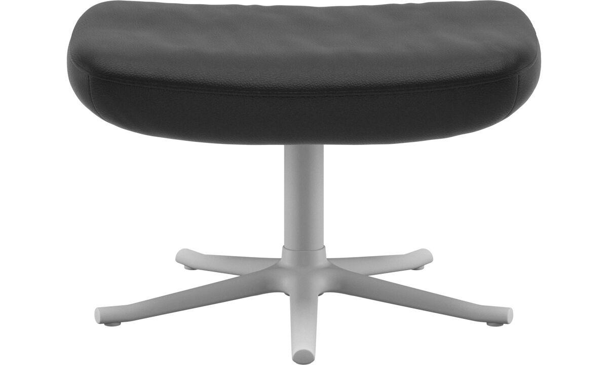 Footstools - Lucca footstool - Black - Leather