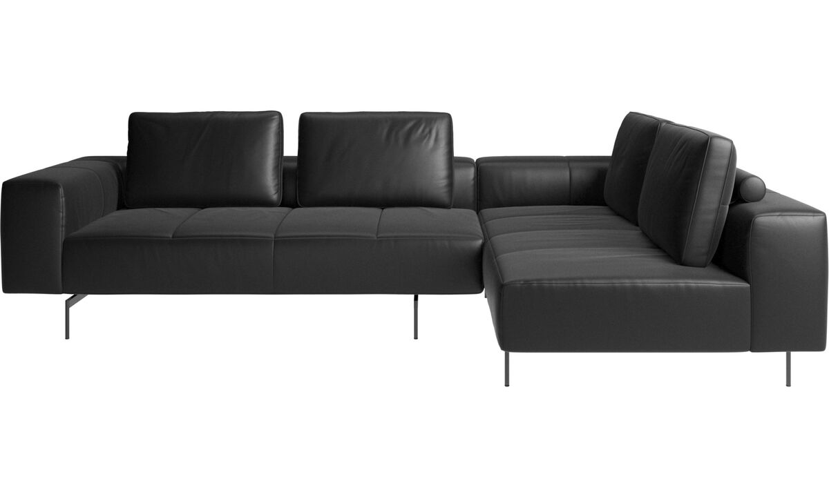 Corner sofas - Amsterdam corner sofa with lounging unit - Black - Leather