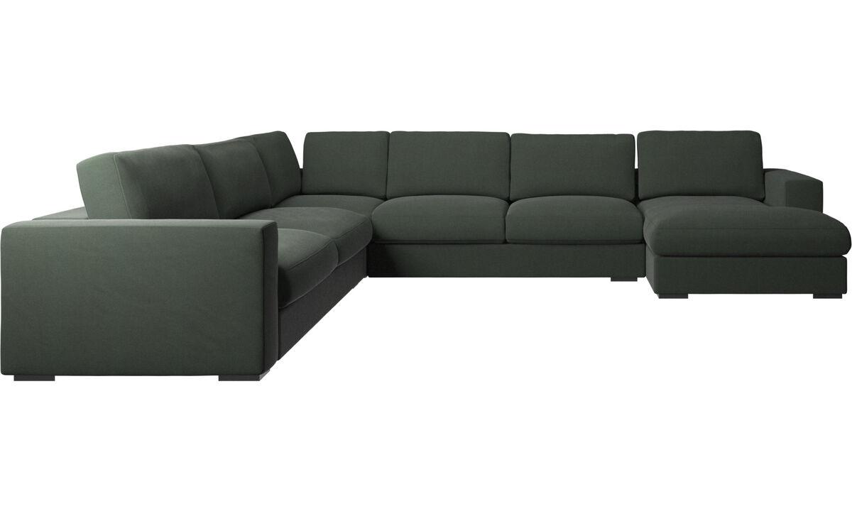 Sofás com chaise - sofá de canto Cenova chaise-longue - Verde - Tecido