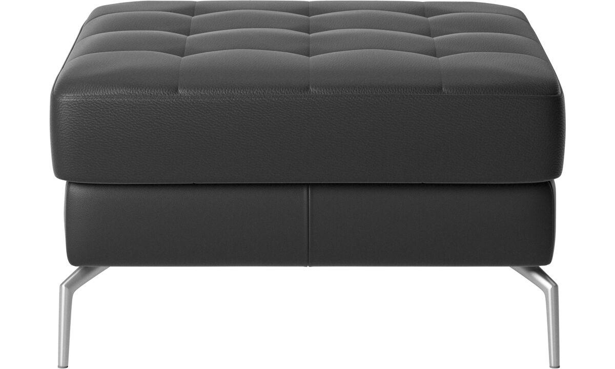 Footstools - Osaka footstool, tufted seat - Black - Leather