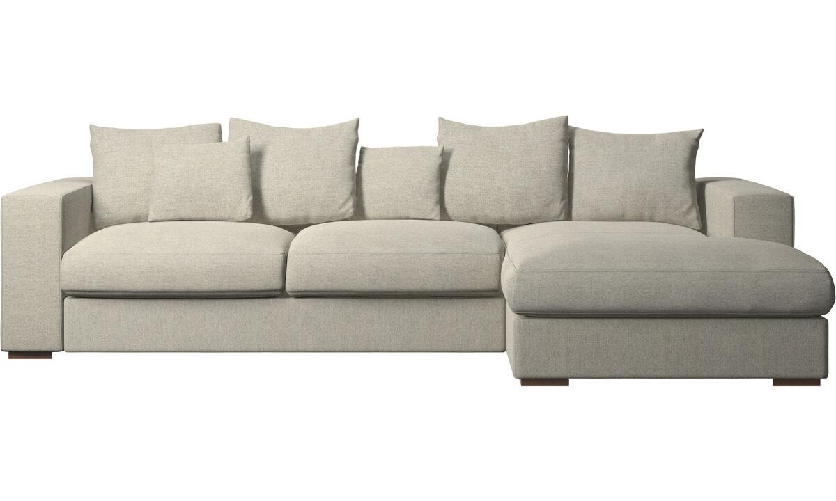 Sofás con chaise longue - sofá Cenova con módulo chaise-longue - En beige - Tela