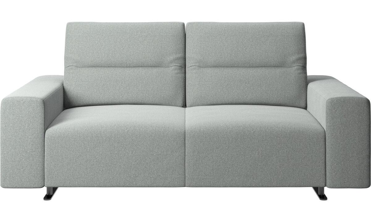 2-sitzer Sofas - Hampton Sofa mit verstellbarer Rückenlehne und Stauraum auf der rechten Seite - Grau - Stoff